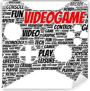 Vinil Duvar Resmi Video oyun kelimesi bulut şekli