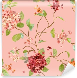 Vinil Duvar Resmi Vintage Çiçekler - Çiçek Hortensia Background - Dikişsiz Desen