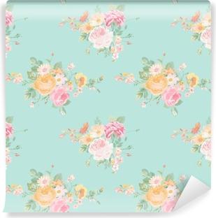 Vinil Duvar Resmi Vintage Flowers Background - Dikişsiz Çiçek Shabby Chic Desen