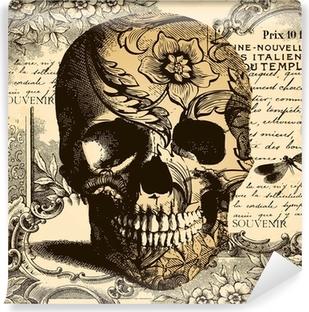 Vinil Duvar Resmi Vintage Kafatası arka plan