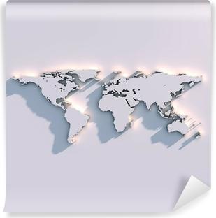 Vinil Duvar Resmi Weltkarte Rölyef auf der Wand
