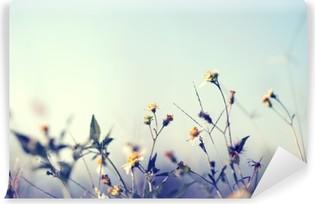 Vinil Duvar Resmi Yabani çiçekler ve bitkiler ile doğa arka plan Vintage fotoğraf