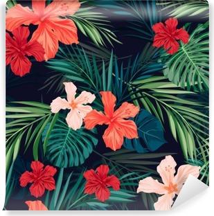 Vinil Duvar Resmi Yaprakları ile parlak renkli tropikal kesintisiz arka plan ve