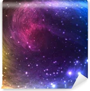 Vinil Duvar Resmi Yıldızlar ve Nebula Parlayan Işık Renkli Uzay Galaxy Arkaplan. sanat, parti el ilanları, posterler, afişler için Vektör Çizim.