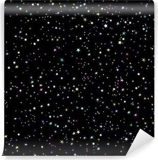 Vinil Duvar Resmi Yıldızlı gökyüzü sorunsuz vektör desen. Uzay ve yıldız gece arka plan.
