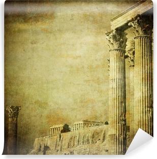 Vinil Duvar Resmi Yunan sütunların Vintage görüntü, Acropolis, Atina, Yunanistan