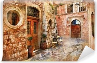 Vinil Duvar Resmi Yunanistan eski sokakları - sanatsal bir retro piture