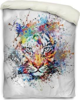 яркий фон с тигром Duvet Cover