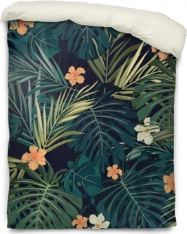 Bright colorful tropical seamless background with leaves and Duvet Cover