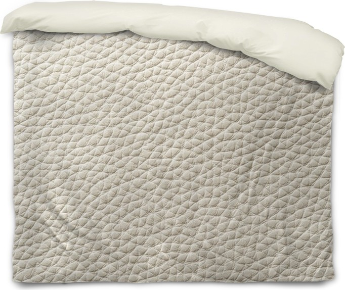 Closeup Of Seamless White Leather Texture Duvet Cover