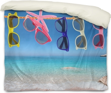 a4eebb3faa27 Collection of sunglasses on the beach Wall Mural • Pixers® • We live to  change