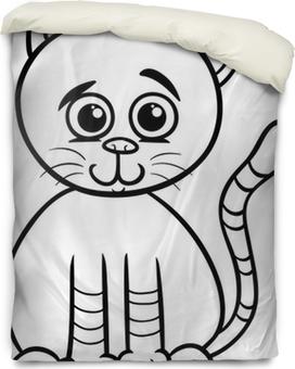 duvet covers cute cat cartoon coloring page