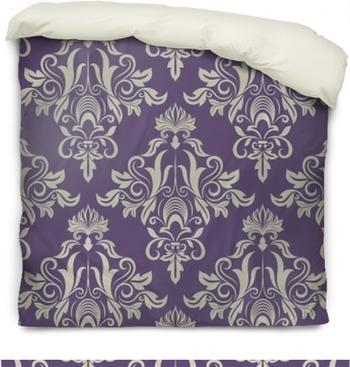 Dark purple and beige vintage wallpaper Duvet Cover
