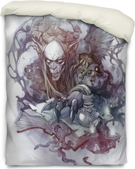 Esoteric hand drawn tattoo illustration of a mythological demon creature Duvet Cover
