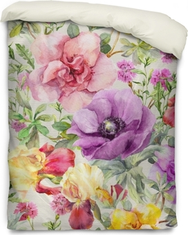 Flowers in meadow. Seamless floral pattern. Watercolor Duvet Cover