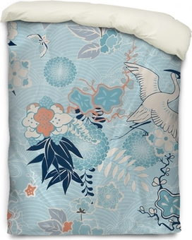 Kimono background with crane and flowers Duvet Cover