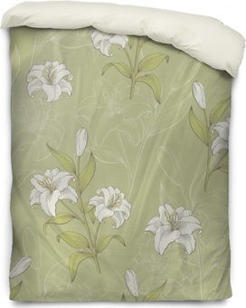 Lily flower graphic color seamless pattern sketch illustration vector Duvet Cover