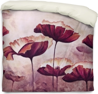 Painting poppies canvas Duvet Cover