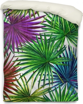 Seamless floral pattern with beautiful watercolor fan palm leaves. Colorful jungle foliage on white background. Textile design. Duvet Cover