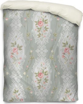 seamless floral pattern with lace and rose borders Duvet Cover