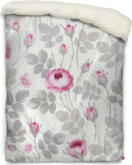 seamless floral pattern with roses in pastel colors Duvet Cover