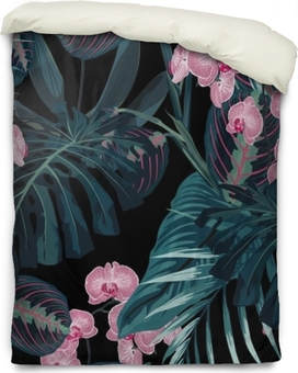 Seamless pattern, dark green colors palm leaves and tropical pink orchid flowers on black background. Vintage style. Duvet Cover