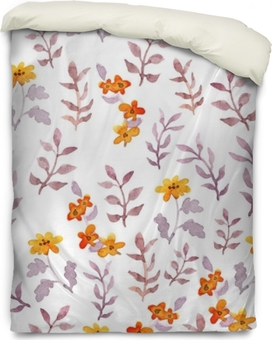 Seamless simple floral pattern. Vintage cute flowers and leaves on white background. Watercolor Duvet Cover
