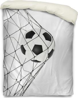 soccer ball in the net gate Duvet Cover