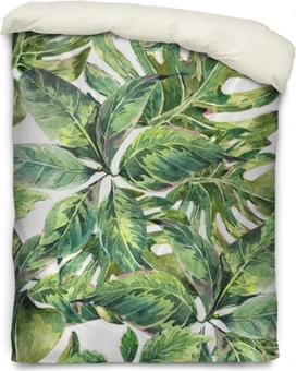 Summer exotic watercolor seamless pattern Duvet Cover