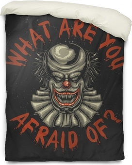 T-shirt or poster design with illustration of scary clown Duvet Cover