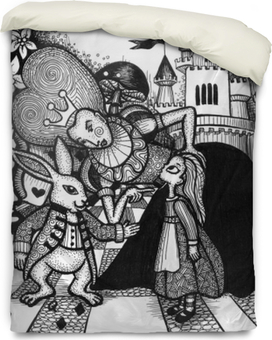the alice in wonderland story hand drawn outline with texture isolated on the white background Duvet Cover