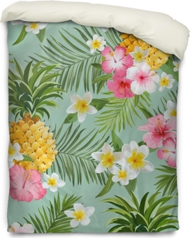 Tropical Flowers and Pineapples Background - Vintage Seamless Pattern Duvet Cover