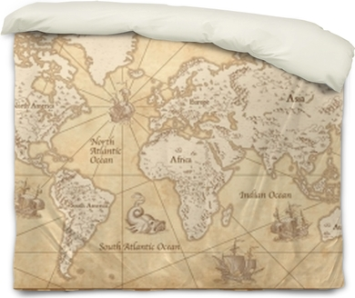 Vintage illustrated world map duvet cover pixers we live to change vintage illustrated world map duvet cover gumiabroncs Image collections