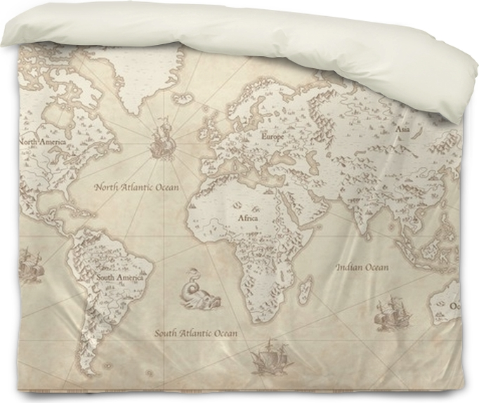 Vintage illustrated world map duvet cover pixers we live to change vintage illustrated world map duvet cover travel gumiabroncs Image collections