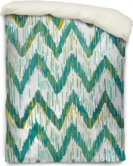 Watercolor ikat chevron seamless pattern. Green and blue watercolour . Bohemian ethnic collection. Duvet Cover