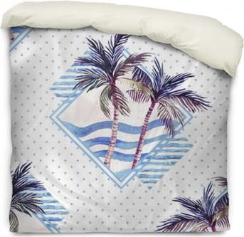 Watercolor palm tree print in geometric shape on polka dot background. Duvet Cover