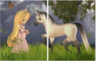 Dyptyk Cute Toon Fairytale Princess and Unicorn