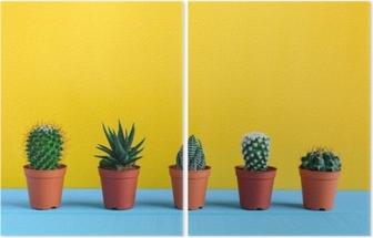 Dyptyk Kaktus na biurku z żółtym wal