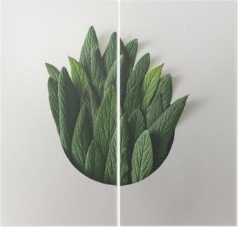 Dyptyk Twórczy minimalny układ zielonych liści. koncepcja przyrody. płaskie lay.