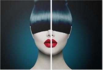 Dyptyk Wysoka modelka portret dziewczyny z modnym Fringe
