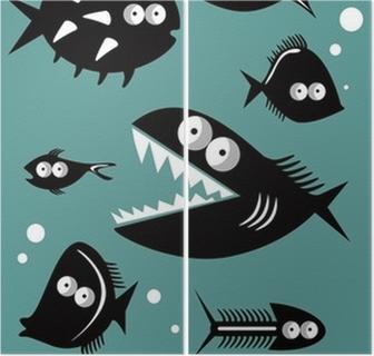 Dyptyk Zestaw zabawnych ryb