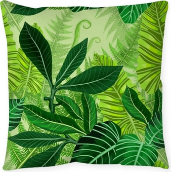 Federa per cuscino Modello senza cuciture con foglie di palma tropicale