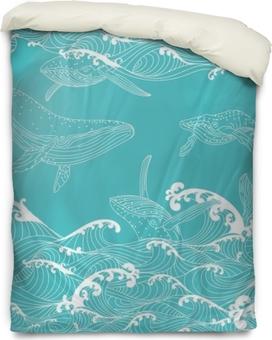 Federa per piumoni La famiglia della balena che nuota nelle onde dell'oceano, modella il fondo senza cuciture