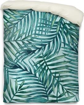 Federa per piumoni Modello senza cuciture delle foglie di palma tropicale dell'acquerello. illustrazione vettoriale.
