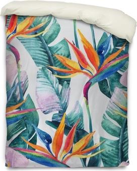 Federa per piumoni Modello senza cuciture tropicale dell'acquerello con fiore di uccello del paradiso.