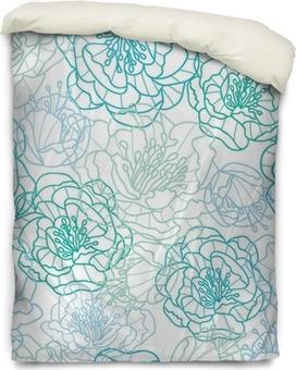 Federa per piumoni Vector linea blu i fiori di arte elegante seamless sfondo