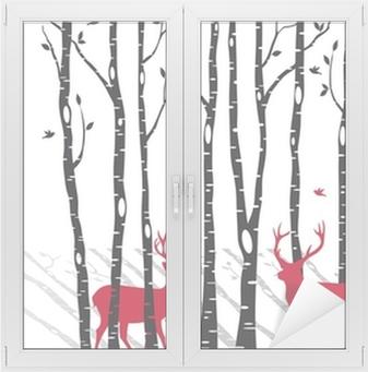 Fensteraufkleber Birken mit Weihnachten Hirsche, Vektor
