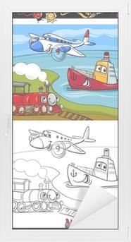 Leinwandbild Cartoon Flugzeug Zug Schiff Malvorlagen Pixers Wir