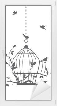 Fensteraufkleber Free Vögel mit offenen Vogelkäfig, Vektor