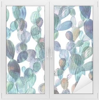Fensteraufkleber Kaktus Muster in Aquarell-Stilp